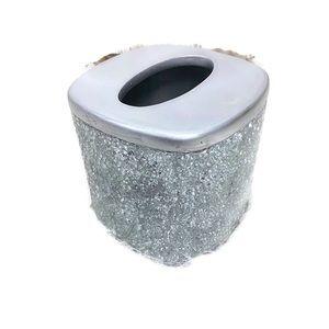 Crackled Glass Tissue Box Cover Up Holder Bathroom